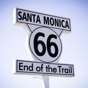 Route 66 sign at Santa Monica, an area serviced by Doggie Manners Puppy Dog Training