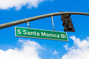Santa Monica Blvd sign in West Hollywood Puppy Dog Training
